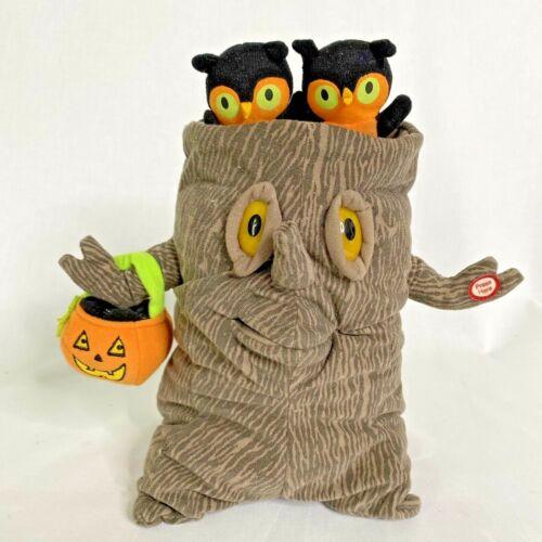 "Hallmark Halloween Spooky Tree 11"" w/ Owls Animated Plush Sounds Lights Motion"