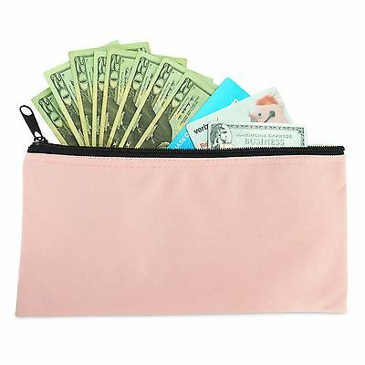 DALIX Zipper Money Bank Bag Pencil Pouch Makeup Travel Accessories Holder Pink
