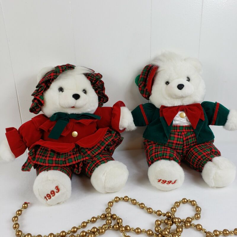 1993 Christmas Bears Plush Plaid Matching Outfits. Gold Buttons Velour Red Green