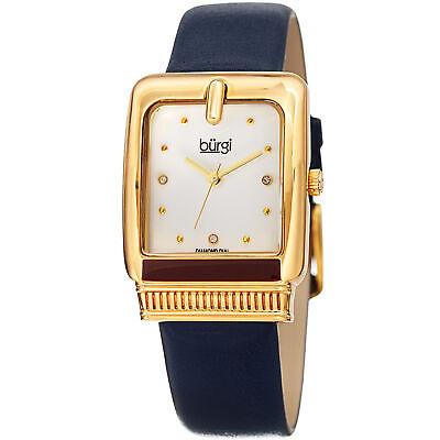 Women's Burgi BUR192BU Quartz Diamond Marker Rectangle Navy Leather Strap Watch