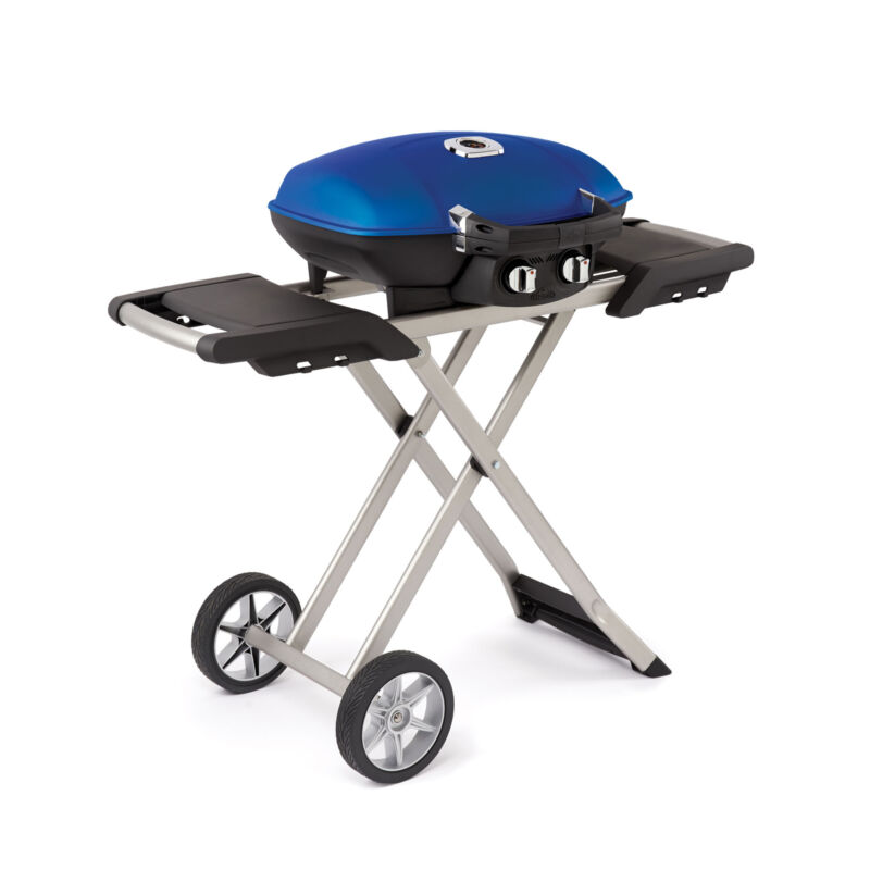 Napoleon TravelQ 285 Portable Compact Propane Gas Grill with Scissor Cart, Blue