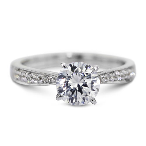 GIA CERTIFIED 0.9 Carat Round Cut F - VS2 Pave Diamond Engagement Ring sizeable