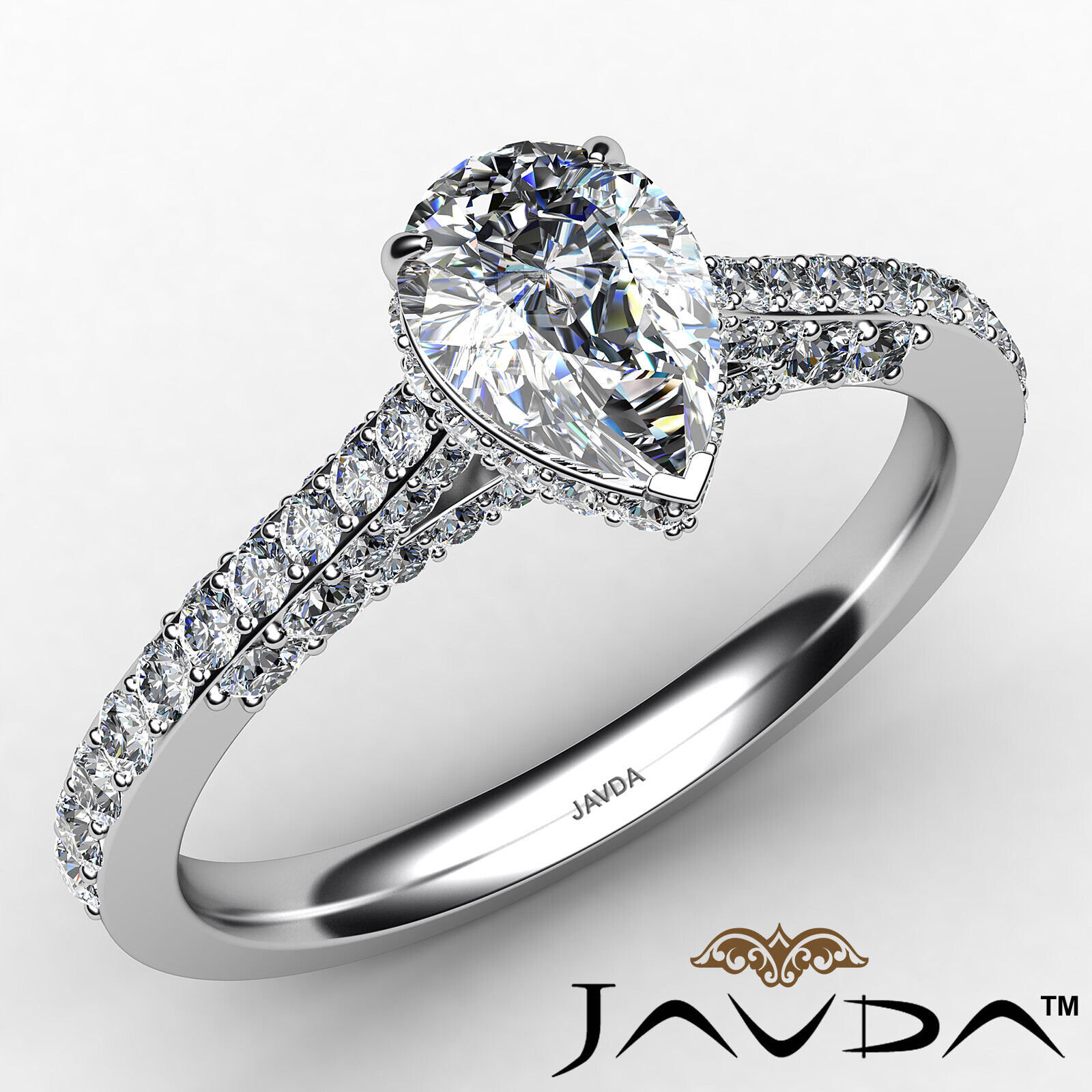Pear Diamond Engagement Pave Ring GIA Certified H Color & VS2 clarity 1.06 ctw