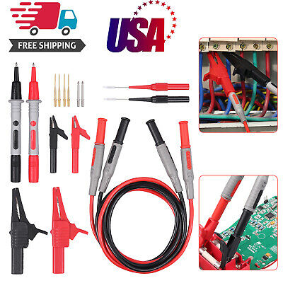 Multimeter Test Lead Kit Cat Iii 1000v 10a W Alligator Clips Needle Probes Tips