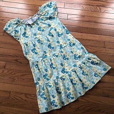 Lands End Girls Green, White & Yellow Floral Dress Size 14 (Girls Green)