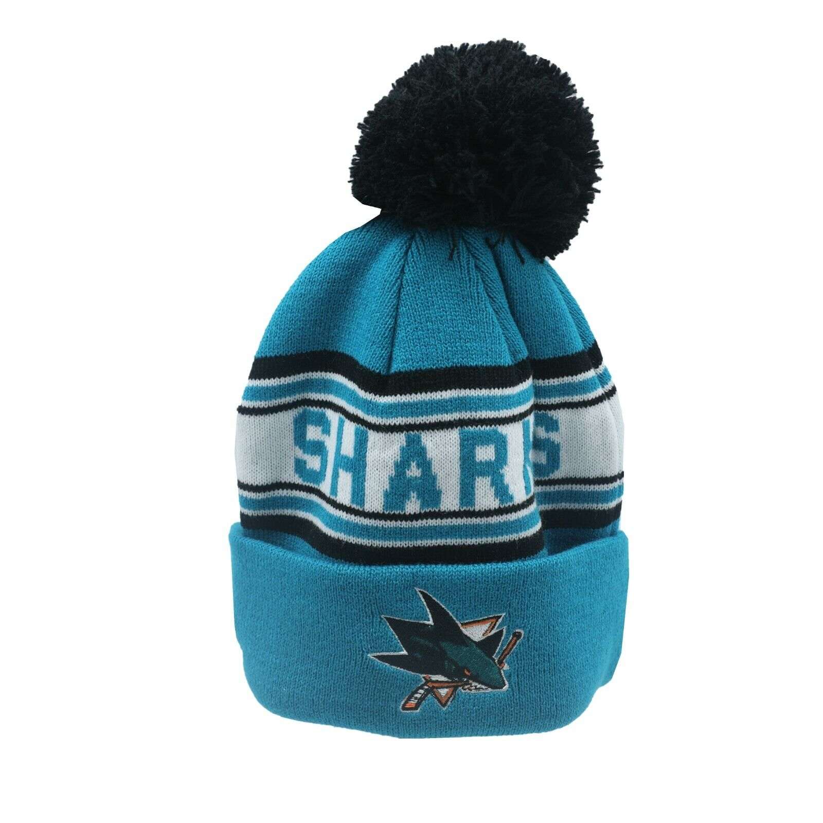 18e37e9c4ba San Jose Sharks NHL Reebok Youth Boys (8-20) Cuffed Pom Knit Winter Beanie  Hat