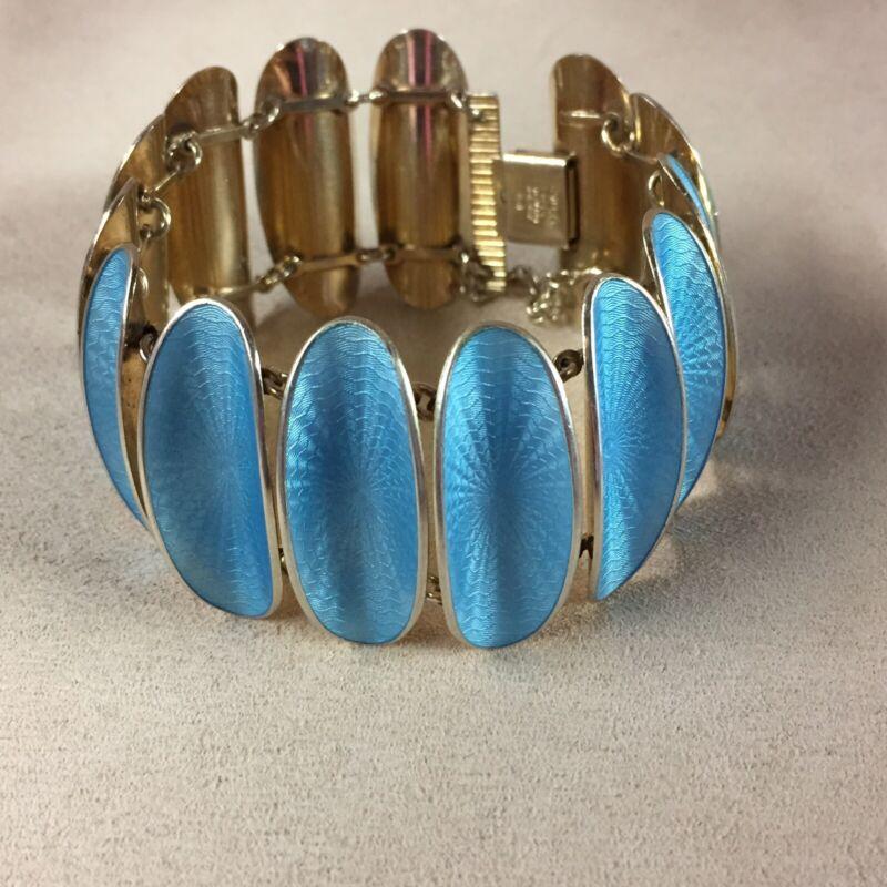 "VTG David Andersen Norway Sterling Silver Guilloche Enamel Bracelet 7"""