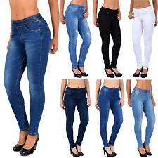 Damen Jeans Hose Skinny Damen Stretch Jeggings Mit Elastischem Gummibund J291 Ebay