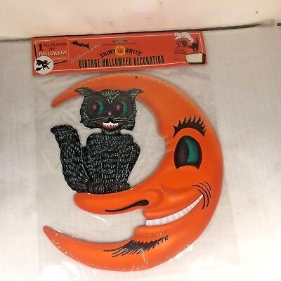 Shiny Brite Halloween (Shiny Brite RADKO HALLOWEEN Embossed Cat Moon Diecut Vintage Retro Inspired)