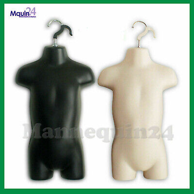 2 Toddler Mannequin Torsos Set Flesh Black 2 Baby Hanging Dress Forms