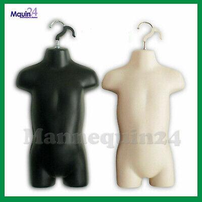 2 Toddler Mannequin Torsos Set Flesh Black 2 Baby Hanging Dress Forms