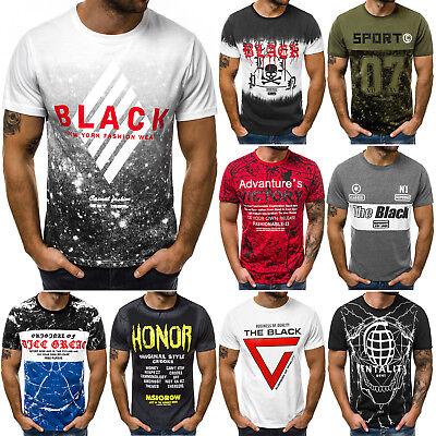 T-Shirt Kurzarm Shirt Aufdruck U-Neck Slim Fit Fitness Herren OZONEE 9091 MIX