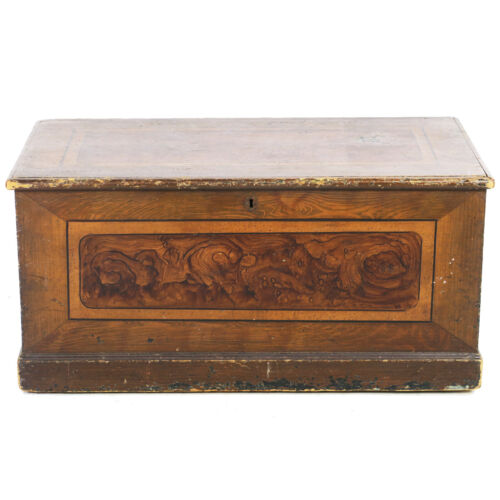 Early 19th C Faux Grain Painted Country Primitive Blanket Chest