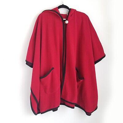 Le Moda Hooded Fleece Wrap Poncho Womens 10 Red w/ Black Trim 1-button New NWT