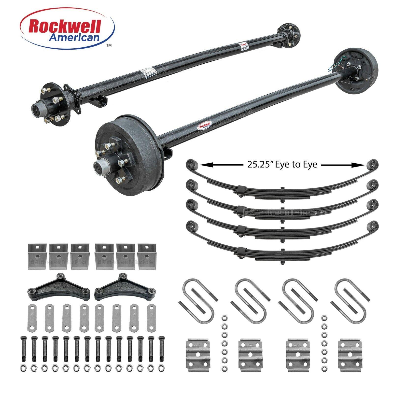 Tandem 3,500 lb Trailer Axle Kit – 7,000 lb Capacity - Brakes on 1 Axle - 95/80