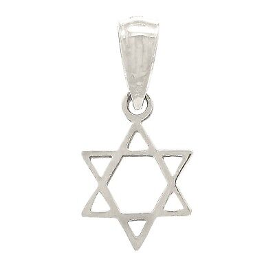 14k White Gold Solid Jewish Star of David Charm Pendant 0.4g