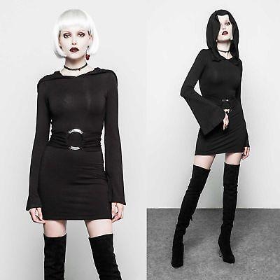 PUNK RAVE Kapuzenkleid Kleines Schwarzes Gothic Kleid Hoodie Mini Dress (Rave Dress)