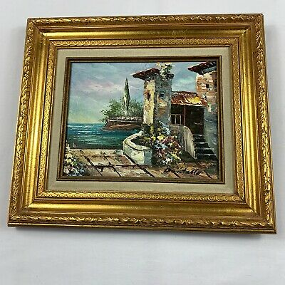 Dantello Art Mediterranean Terrace Scene Painting Signed Framed