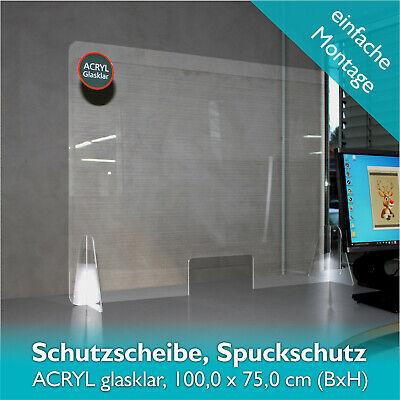 Spuckschutz Schutzscheibe Thekenaufsatz Acrylglas Plexiglas Durchreiche 100x75cm