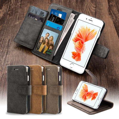Leather Executive Wallet Flip Case Cover Stand For iPhone 5 5S SE 6 6s Plus