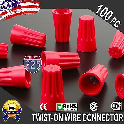 (100) Red Twist-On Wire GARD Connector Conical nuts 18-10 Gauge Barrel Screw US