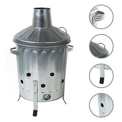 15L Mini Incinerator,Galavanized Steel Fire Bin,Garden Paper Debris Waste Burner
