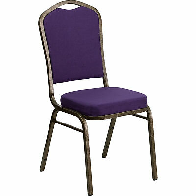Flash Furniture Crown Back Fabric Banquet Chair - Purple Wgold Frame Fdc01purgv