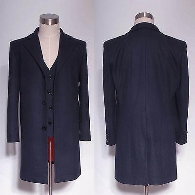 Doctor Who 12th Dr.Peter Capaldi Dark Blue Frock Coat Vest Set Halloween Costume](Blue Peter Halloween Costume)