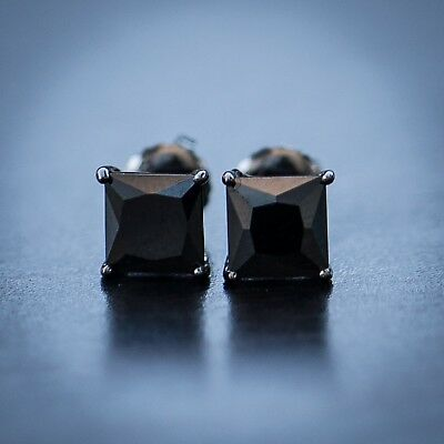 Men's Black Onyx Black Diamond Stud Earrings ()
