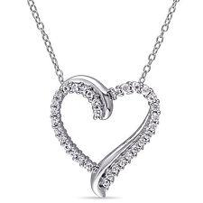 Silver 3/4 ct TGW Created White Sapphire Heart Pendant Necklace