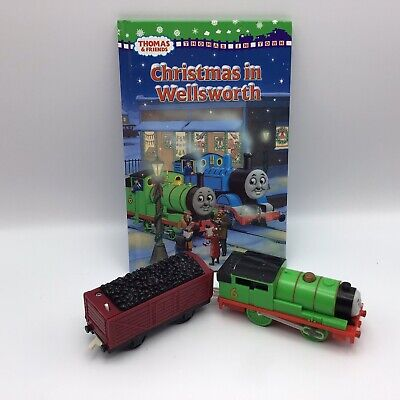 Lot Thomas & Friends Percy #6 Green Motorized Train Engine, Coal Car & Book