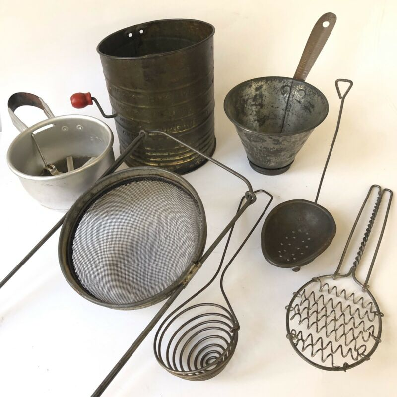 Farmhouse Vtg Kitchen Utensils Antique Tools Strainers Sifter Egg Dipper Lot 7pc