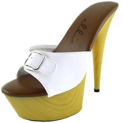 ELLIE Shoes Faux Printed Wood Platform Stiletto Mule Buckled 609-BARBARA White - Ellie Platform Shoes