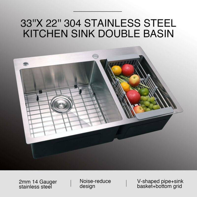 """33"""" x 22"""" x 9"""" 304 Stainless Steel Top Mount Kitchen Sink w/"""