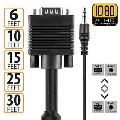VGA Cable SVGA M-M Monitor Video Cable w/3.5 audio Support 1080P Full HD for PC Audio M/m Monitor Cable