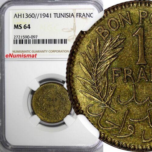 TUNISIA Anonymous Aluminum-Bronze AH1360//1941 1 Francs NGC MS64 TOP GRADE KM247