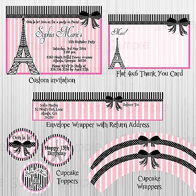 Pink, Paris Party: Birthday, Baby Shower, Bridal Shower with invitation - Paris Baby Shower Decorations