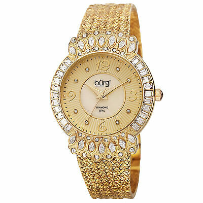 Women's Burgi BUR120YG Sparkling Diamond & Crystal Accented Gold-tone Watch
