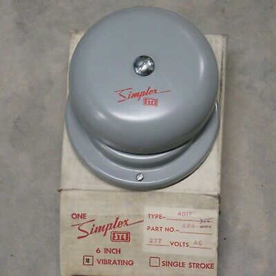 Simplex Str 4017 6 Grey Vibrating Bell Part 624-355 277v Ac Nos W Mount