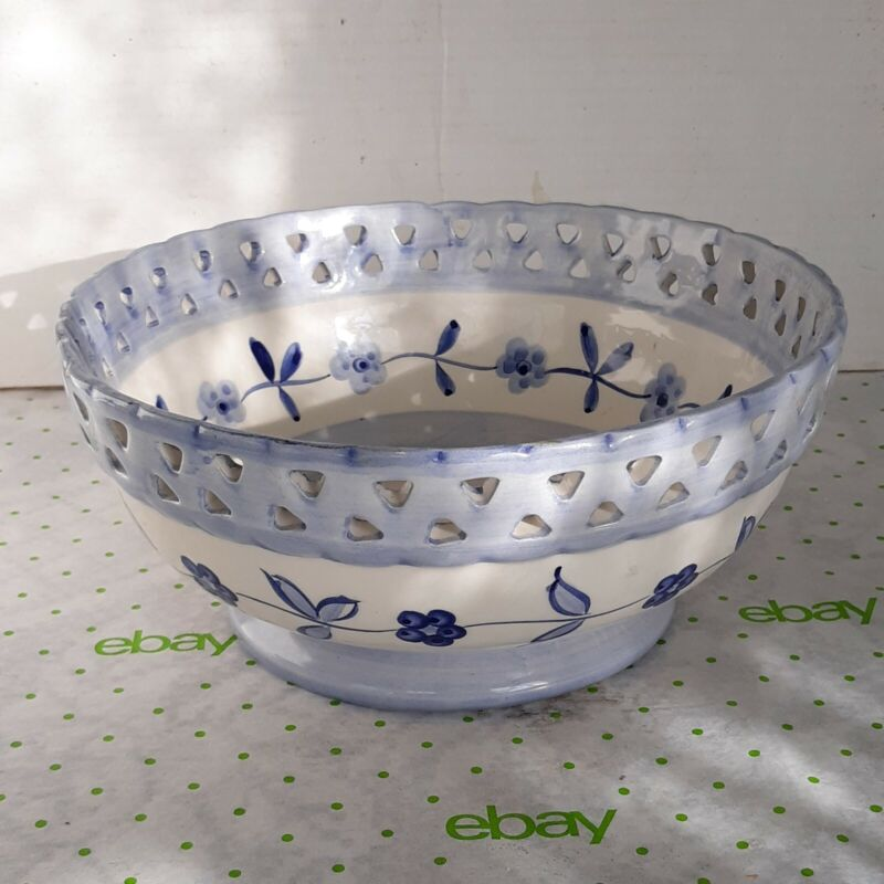 Lovely Blue & White Ceramic Lattice Bowl Hand Painted, Made in Portugal