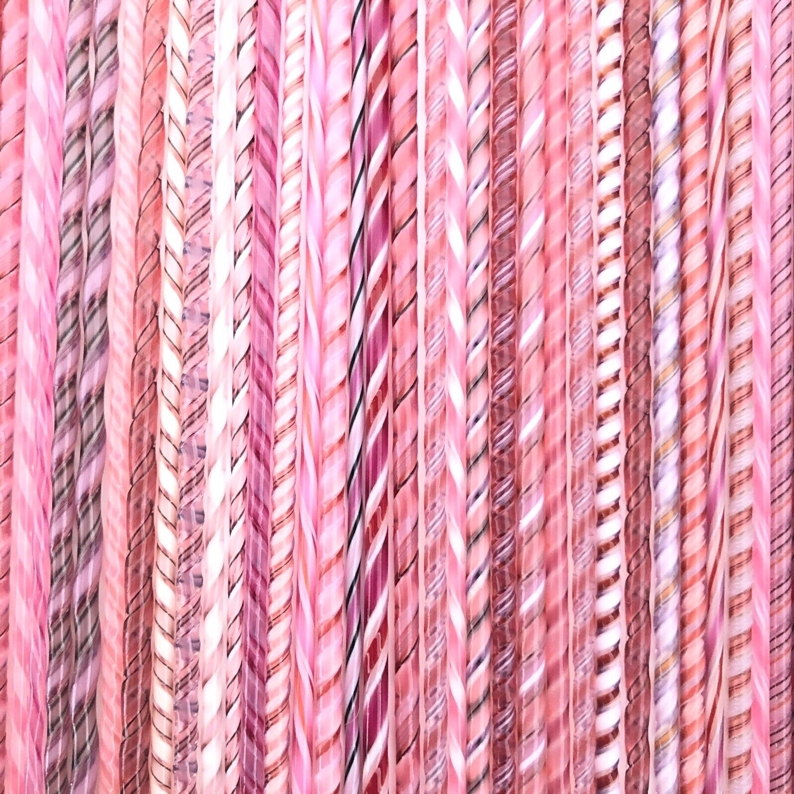 как выглядит FIVE Twisties - Pinks - Fusible COE 90 Bullseye Compatible Twisted Glass Canes фото