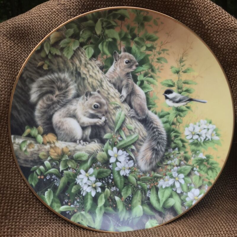 """Lunchtime Visitor"" Woodland Encounters Plate Hamilton Collection Squirrels Bird"