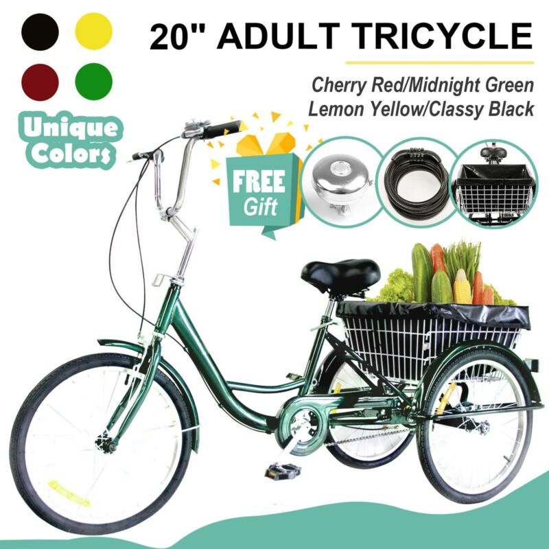 "20"" Adult Trike Tricycle 3-Wheel Bike w/Basket for Shopping,"