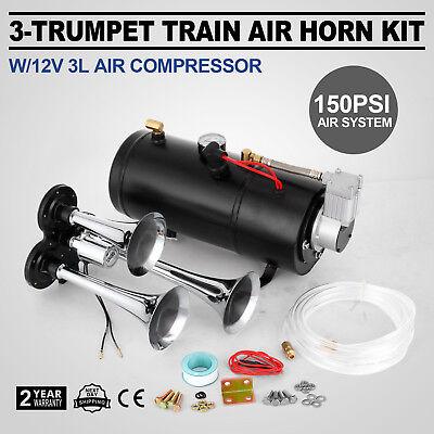 Train Luft Horn Kit mit 12V 150PSI Luft Kompressor Universal Chrome 3L Tank