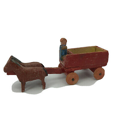 Vintage Erzgebirge German Putz Christmas Village Miniature Horse Drawn Red Wagon