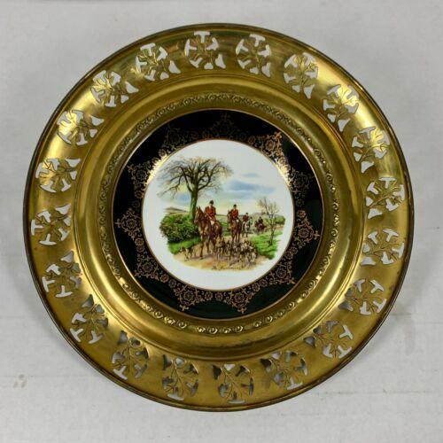 THE HUNTSMAN Brass and Porcelain Regency BONE CHINA HANGING PLATE