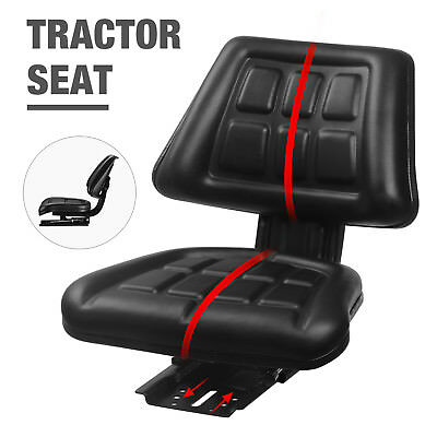 Universal Tractor Seat Backrest Base&Slide Track Steel/PVC Compact Mower Seating