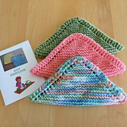 NEW Set of 3- Hand Knit-DISHCLOTHS / WASHCLOTHS  with Directions & FREE SHIPPING