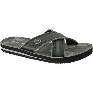 MENS DUNLOP TEXTILE FLIP FLOPS SANDALS SIZE UK 6 - 12 MULE KHAKI, BROWN OR GREY