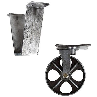 Gusseisen Räder Bockrolle Lenkrolle Gussrad Industrial Stütze NEU Ø118mm Zinn-E. (Gusseisen Rollen)